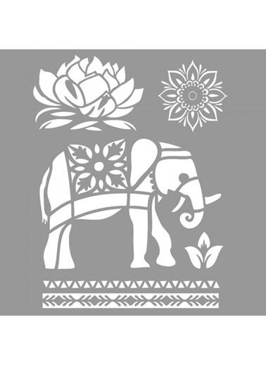 Artikel Thai  Stencil Tasarımı 30 x 30 cm Renkli